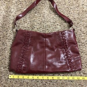 Red faux leather purse